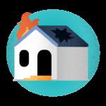 ícone casa pegando fogo